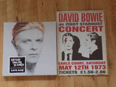 "David Bowie "" The Man Who Fell To Earth "" LP/ CD Box set & "" Ziggy Stardust "" retro metal concert sign."