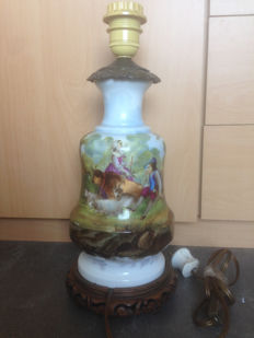 Porcelain lamp stand with presentation of a pastoral scene, baluster shaped
