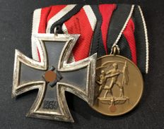 3. Reich 2. WW clasp with Iron Cross and Sudeten medal 1938 Third Reich