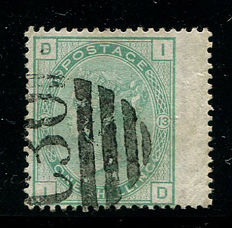 Groot-Brittannië 1873/80 - Koningin Victoria - 1 shilling green plate 13,  Stanley Gibbons 150 Used In Valparaiso C30