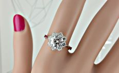 IGL 1.32 ct round diamond ring made of 14 kt white gold - size 7