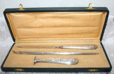 Rare 19th Century Writing Kit: Penholder, Stamp, Letter Opener. Sterling Silver, Boar's Head + Bayard Hallmark. Antique, 18 Carat Gold Nib with Eagle's Head. France