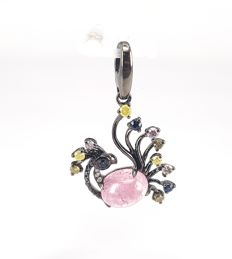 Dancing Peacock Pendant in 2.84 carats Pink Tourmaline and 0.50 carats Round Diamonds in 18 kt Black Gold