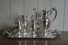 Silver plated coffee set on plateau - empire style- WISKEMANN Belgium - 1st half of the 20 e century