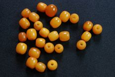100% Antique Amber beads,  17.7 gram