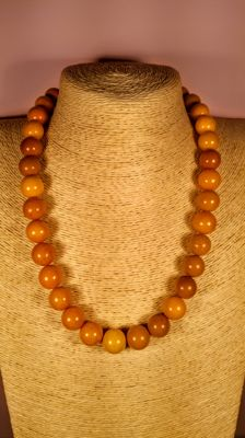 Round beads modified Baltic Amber necklace, length 53 cm, 57 grams