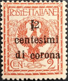 Trento and Trieste 1919 - 2 cent.  of corona on 2 cent. Variation not listed in catalogues - Sass.  No.  2