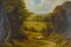 J. H. Lewis (19th century) - Countryside landscape with figure