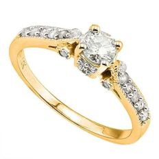 14K Yellow  Gold Ring With Created Moissanites - US Size 7