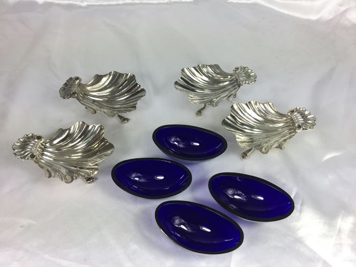 oyster serving set, silver plated metal, France 1950-1960