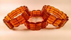 Vintage ca. 1970's made in USSR Baltic Amber modified beads 3 bracelets, 82 grams