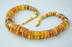Vintage Baltic Amber necklace from raw Amber, in lemon, honey butterscotch colour, 73 gram