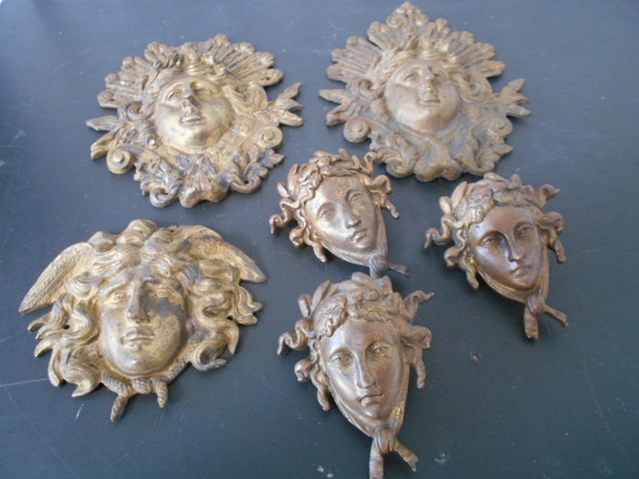 Six gilded bronze furniture ornaments - France - 19th century