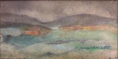 "Manés Fernández Moliner (1921 - 2002) - "" A farm in Asturias village , grey day """