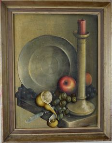 George Reekie ( 20th century) - Still life of fruit, candlestick and pewter plate