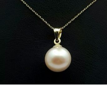 14 Ct Yellow Gold  Chain With  Cultured Fresh water  Pearl pendant