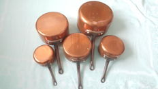 French copper cookware set of five