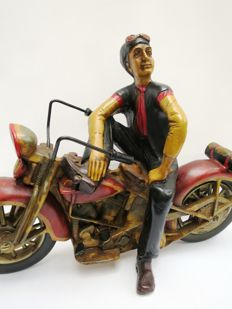 Harley Davidson-large synthetic resin and metal statue of a motorbike with rider