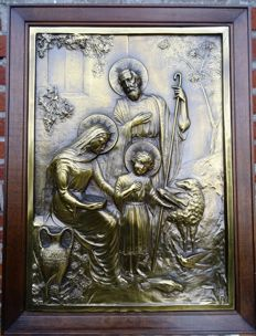 Embossed Copper plate - The Holy Familie - Italie - ca 1900