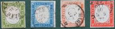 Sardinia 1857/1862 - 5, 20 and 40 centesimi, two specimens - Sass. Nos.  13Dc, 15Da, 16Ab, 16Ca