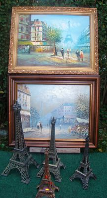 Two paintings by Burnett and four metal alloy Eiffel Towers (one with a light)