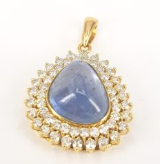 8.48 carats Blue Sapphire and 1.38 carats White Diamond Pendant in 18 kt Yellow Gold- FREE SHIPPING