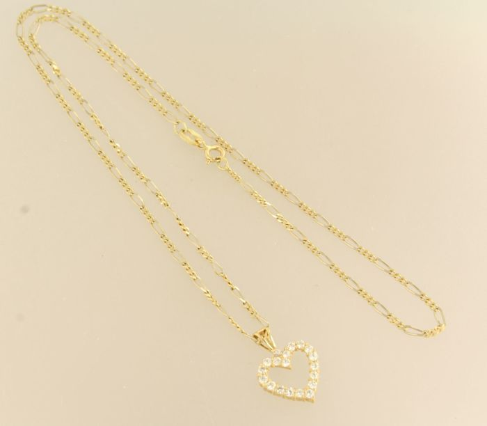No reserve price 14 kt yellow gold necklace with 18 kt gold no reserve price 14 kt yellow gold necklace with 18 kt gold heart pendant set with brilliant cut diamonds of 046 ct length 44 cm aloadofball Choice Image