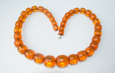 Art Deco, transparent Baltic Amber faceted (cut) necklace cognac colour, 51 gram