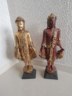 Two standing, wooden Mandalay style Buddha sculptures - Burma -  late 20th century (44 cm)