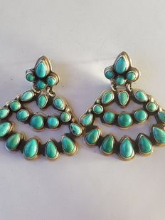 Navajo earrings, sterling silver - with sleeping beauty turquoise