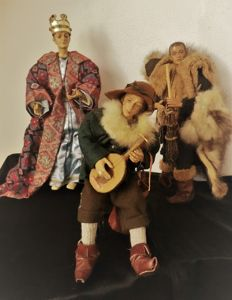 Unique Handmade christmas group from wood, ceramic, textil, fur, earthenware