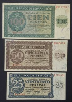 Spain - Lot of 3 banknotes from 1936 - 100, 50 and 25 pesetas - Pick 101a,100a and 99a