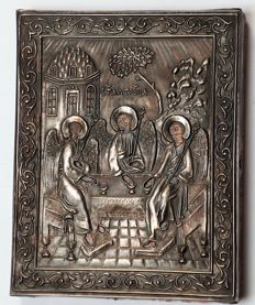 Miniature Russian Orthodox  Icon - of the Holy Trinity the in Silver Frame 84 silver fineness