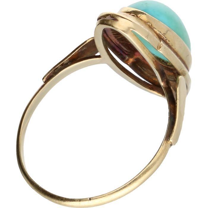 Beautiful gold ring with turquoise stone, size 17 mm - Catawiki
