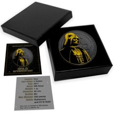 Niue - $2 - Star Wars - Darth Vader Black ruthenium + gilded Edition - 1 oz 999 silver coin - Edition only * 200 * piece