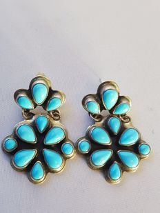 Navajo earrings Sterling silver - with turquoise (sleeping beauty)
