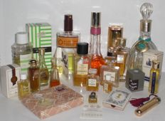 Collection vintage women fragrance perfume bottles, Chanel, Hermes, Fragonard, Birger Christensen, Balmain, Helena Rubinstein...