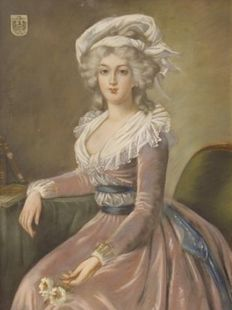 French painting 20th in the style of the 18th - Ritratto di nobildonna asburgica