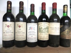 1990 Château Fieuzal Graves GCC x 2 bottles - 1985 Château Montalivet Graves x 1 bottle - 1993 Château Carbonnieux Graves GCC x 1 bottle - 1971 Château Haut Bailly Graves GCC x 1 bottle - 1976 Château Latour Martillac Graves GCC x 1 bottle / 6 bottles in