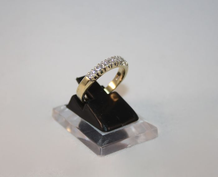 Riviera ring in 18 kt yellow gold - 7 diamonds for 0.42 ct - size 15½ (55½)