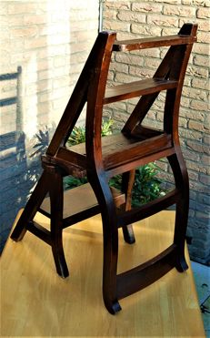 Mahogany chair / library stepladder - England - 1970s