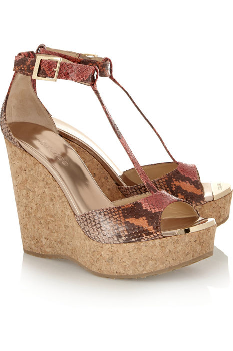 Jimmy Choo -Pela T-bar Cork Wedges 130mm