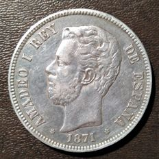 Spain - Amadeo I - 5 pesetas - 1871*75 - Madrid
