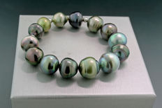Tahitian pearl bracelet, 14 multi-coloured Tahitian pearl graduating in size from 11 to 13.8 mm ---NO reserve---