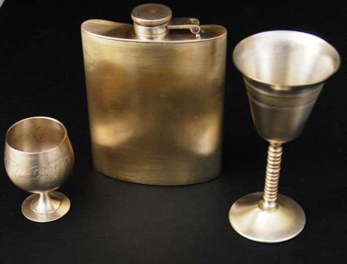 Antique Silver Plated Hip Liquor Flask and two Stemmed Glasses, European, Early 20th Century