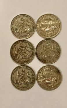 Australia - Florin (Two Shillings) 1927, 1928 and 1934 George V (6 pieces) - silver