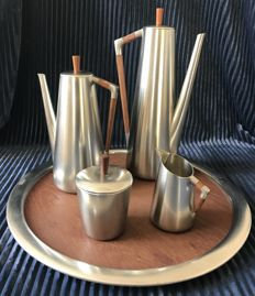 KMD ROYAL HOLLAND TIEL - Vintage tea and coffee set complete brushed steel and exotic hardwood