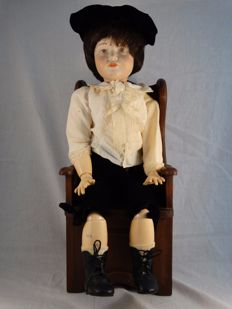 Replica Kämmer & Reinhardt doll - 114 W - German toddler with wooden antique chair - Germany