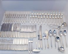 110 items: solid silver cutlery, the Netherlands, 20th century, point-filet