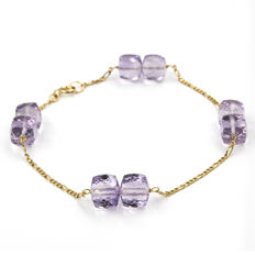 Yellow gold, 18 kt - Bracelet - Faceted amethysts - Length 20 cm